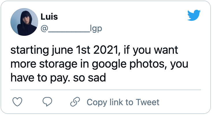 Tweet about Google Photos recoming its free unlimited offering